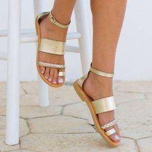 Women's Buckle Toe Ring Flat Heel Sandals_3