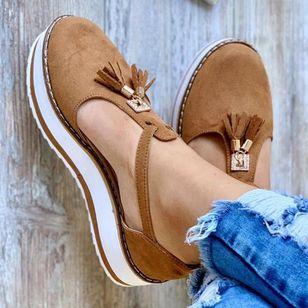 Women's Tassel Closed Toe Flat Heel Sandals_3