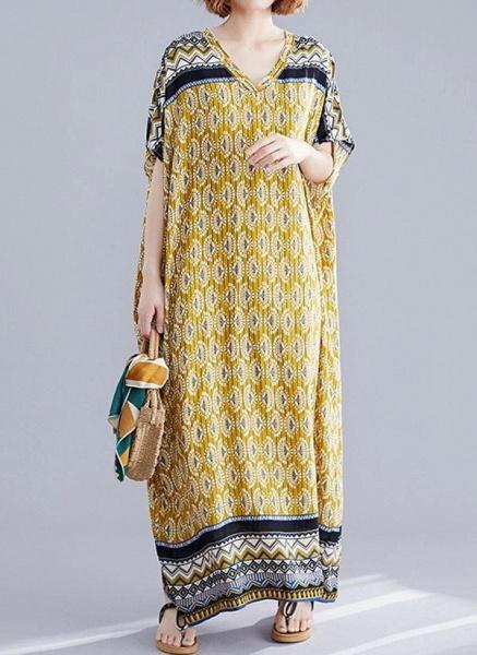 Yellow Plus Size Block V-Neckline Casual Maxi Plus Dress_1