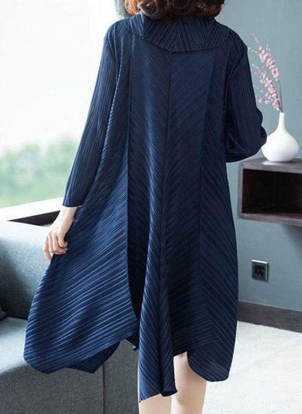 Dark Blue Plus Size Solid V-Neckline Casual Midi A-line Dress Plus Dress_1