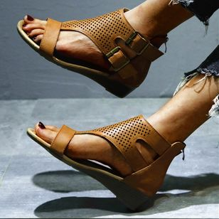 Women's Buckle Hollow-out Flats Flat Heel Sandals_3