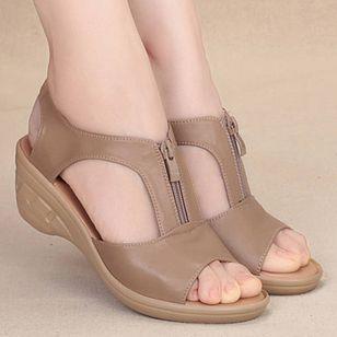 Women's Zipper Peep Toe Low Heel Sandals_4