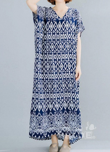 Dark Blue Plus Size Tunic Geometric V-Neckline Casual Maxi Plus Dress_5