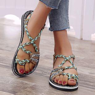 Women's Knit Toe Ring Nubuck Flat Heel Sandals_4