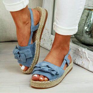 Women's Slingbacks Cloth Flat Heel Sandals Platforms_4
