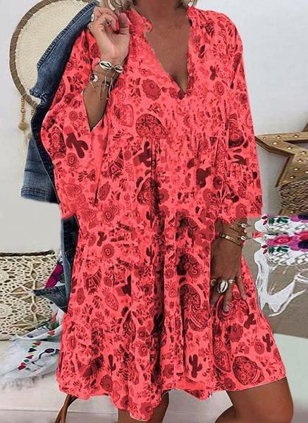 Black Plus Size Tunic Floral V-Neckline Casual Above Knee Plus Dress_3