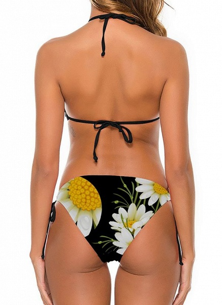 Nylon Halter Knotted Floral Bikinis Swimwear_6