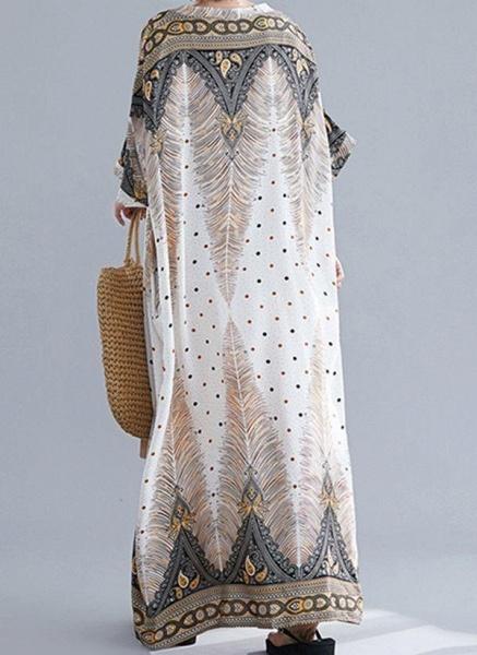 Plus Size Tunic Floral V-Neckline Casual Maxi Plus Dress_1