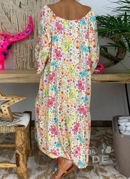 Multicolor Plus Size Floral V-Neckline Vintage Tassel Maxi Plus Dress_6