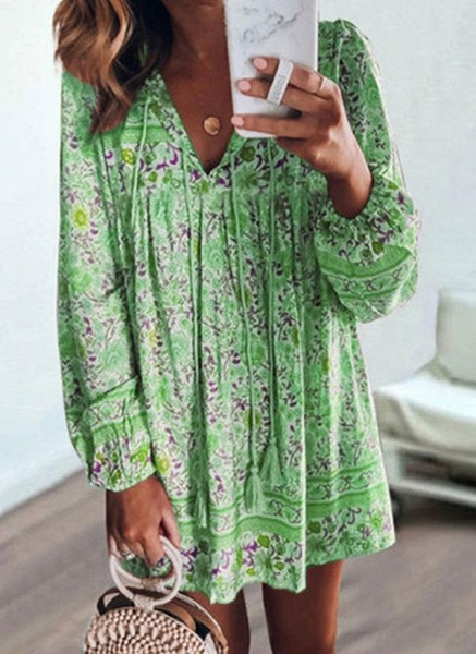 Casual Floral Tunic V-Neckline Shift Dress_3