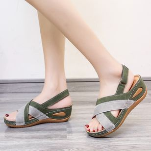 Women's Velcro Split Joint Slingbacks Leatherette Flat Heel Sandals_3