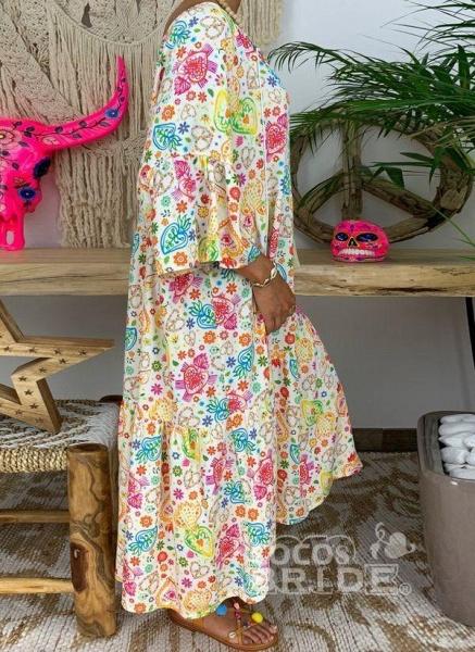 Multicolor Plus Size Floral V-Neckline Vintage Tassel Maxi Plus Dress_4