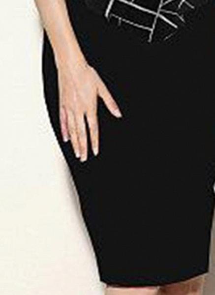 Black Plus Size Color Block Round Neckline Casual Bodycon Dress Short Sleeve Plus Dress_1