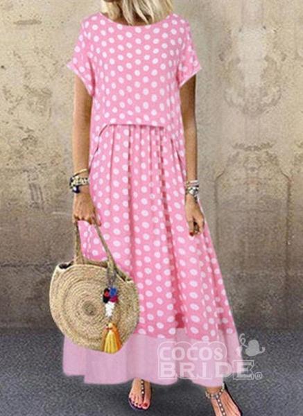Black Plus Size Polka Dot Round Neckline Casual Ruffles Maxi Plus Dress_3