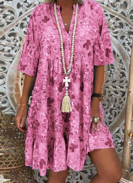 Pink Plus Size Tunic Floral V-Neckline Casual Buttons Plus Dress_1