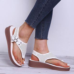 Women's Buckle Flip-Flops Flat Heel Sandals Platforms_1