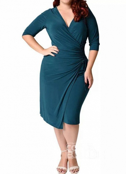 Red Plus Size Solid V-Neckline Casual Sashes Midi Plus Dress_11