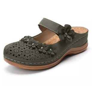 Women's Hollow-out Flower Slingbacks Flat Heel Sandals_2