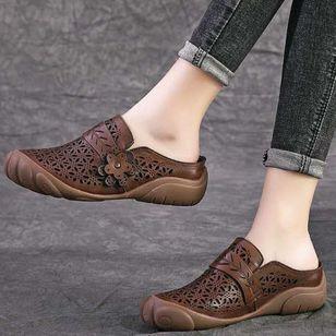 Women's Hollow-out Flower Slingbacks Flat Heel Sandals_3