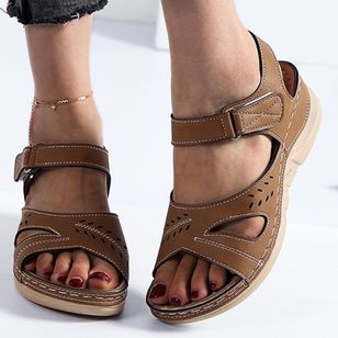 Women's Velcro Round Toe Nubuck Flat Heel Sandals_5