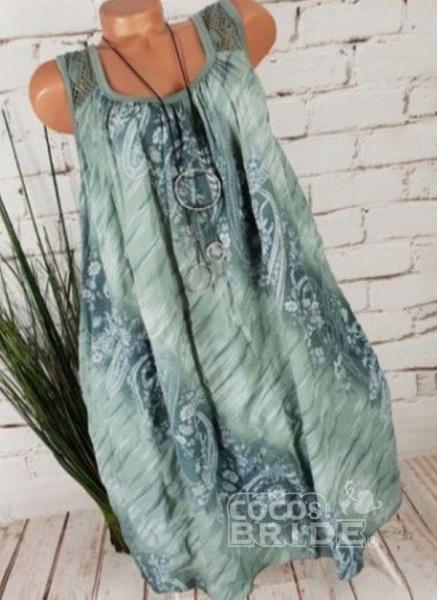 Light Blue Plus Size Tunic Floral Square Neckline Casual Above Knee Plus Dress_4