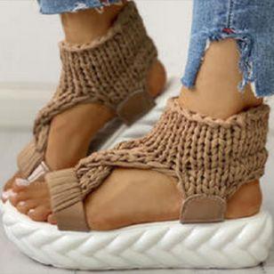 Women's Knit Slingbacks Fabric Flat Heel Sandals Platforms_4