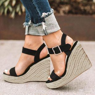 Women's Buckle Heels Leatherette Wedge Heel Sandals_3