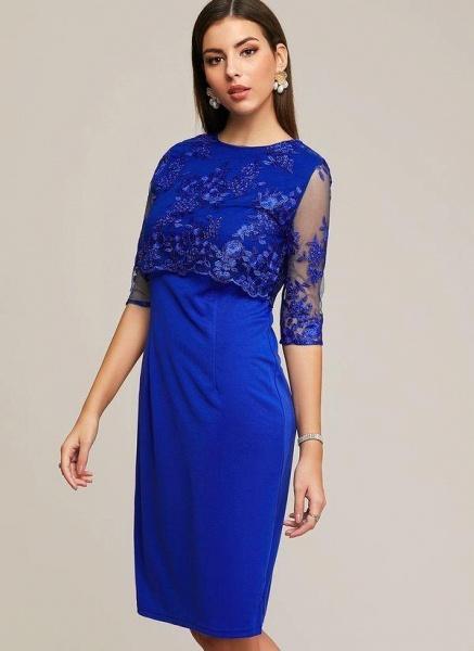Blue Plus Size Solid Round Neckline Elegant Midi X-line Dress Plus Dress_1