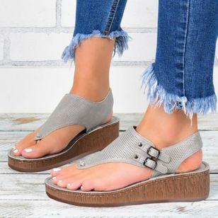 Women's Buckle Hollow-out Flip-Flops Wedge Heel Sandals Platforms_5