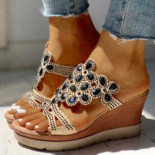 Women's Crystal Heels Wedge Heel Sandals_1
