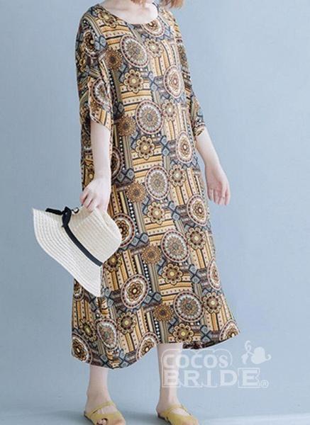 Khaki Plus Size Tunic Floral Round Neckline Casual Midi Plus Dress_3