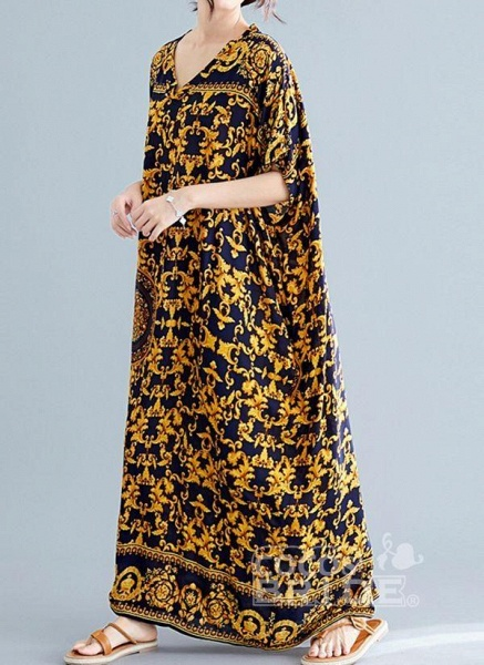 Gold Plus Size Tunic Color Block V-Neckline Casual Maxi Plus Dress_2