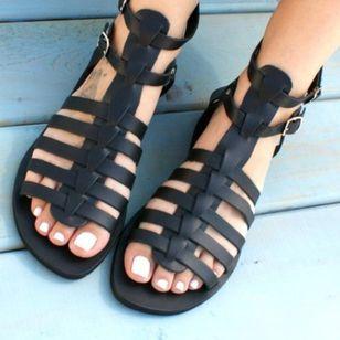 Women's Buckle Slingbacks Leatherette Flat Heel Sandals_2