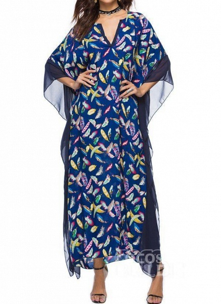Blue Plus Size Tunic Color Block V-Neckline Casual Maxi Plus Dress_9