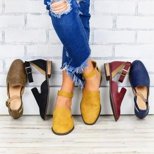 Women's Buckle Closed Toe Low Heel Sandals_5