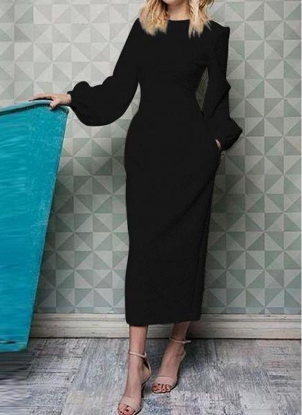 Black Casual Solid Pockets Pencil Sheath Dress_1