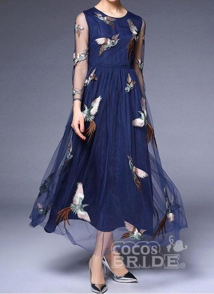 Dark Blue Plus Size Animal Round Neckline Casual Lace Maxi Plus Dress_5