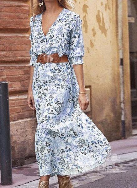 Apricot Boho Floral V-Neckline Maxi X-line Dress_8