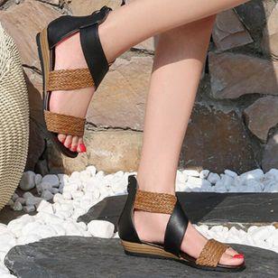 Women's Braided Strap Split Joint Heels Wedge Heel Sandals_8