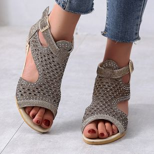 Women's Buckle Hollow-out Wedge Heel Sandals_1