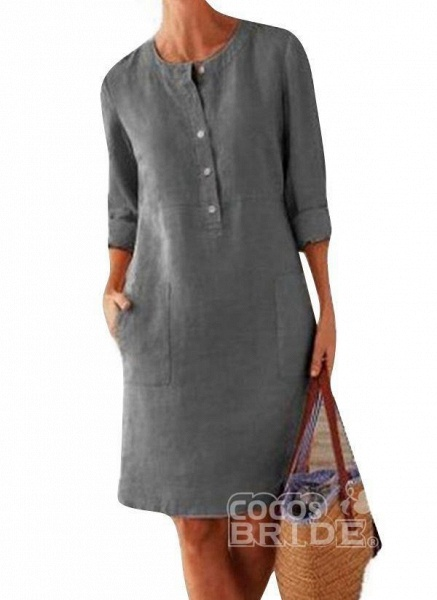 Light Gray Plus Size Solid Round Neckline Casual Pockets Above Knee Plus Dress_6