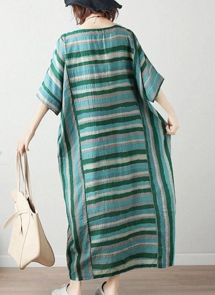 Green Plus Size Tunic Color Block Round Neckline Casual Midi Plus Dress_1
