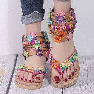 Women's Buckle Flower Flip-Flops Flat Heel Sandals_3