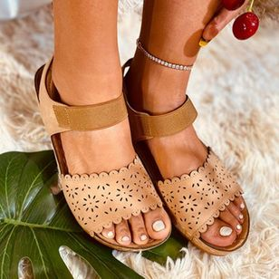 Women's Hollow-out Slingbacks Cloth Wedge Heel Sandals_1