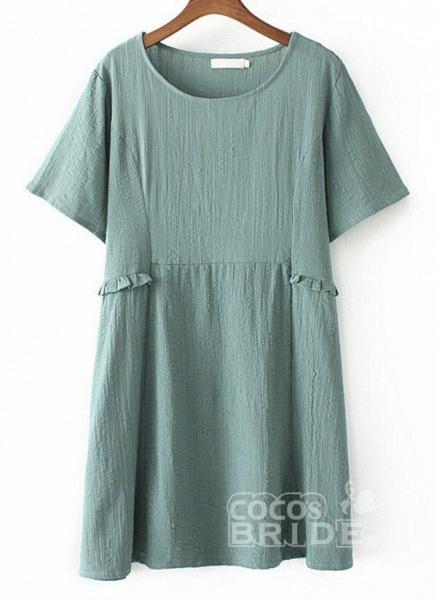 Dark Blue Plus Size Tunic Solid Round Neckline Casual Above Knee Plus Dress_5