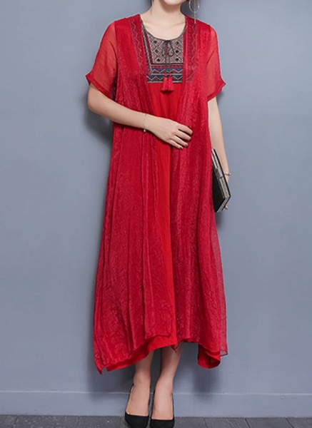Elegant Geometric Wrap Round Neckline Shift Dress_1