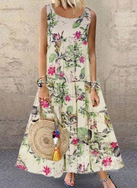 Green Plus Size Tunic Floral Round Neckline Casual Maxi Plus Dress_4