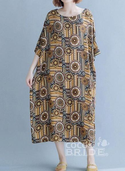Khaki Plus Size Tunic Floral Round Neckline Casual Midi Plus Dress_6