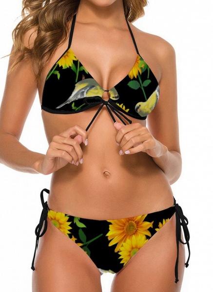 Nylon Halter Knotted Floral Bikinis Swimwear_4