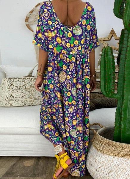 Purple Plus Size Tunic Floral V-Neckline Casual Midi Plus Dress_1